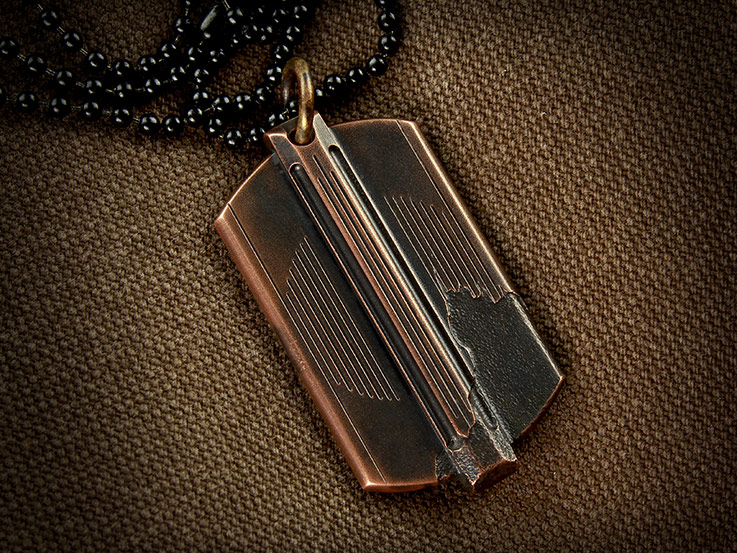 Copper dog tag pendant